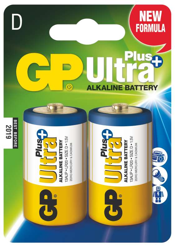 Alkalická baterie GP Ultra Plus LR20 (D), 2 ks v blistru