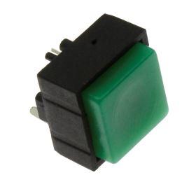 Tlačítkový spínač do DPS přímý spínací 1-pólový (ON)-OFF 0.25A 50V Jietong  PBS-18B GREEN