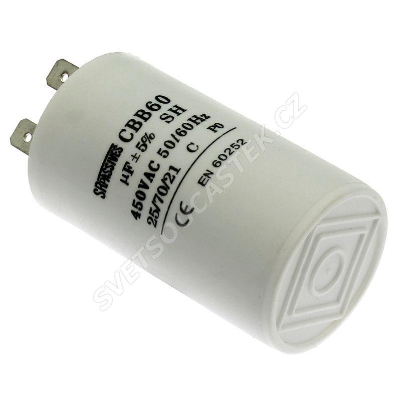 Rozběhový kondenzátor CBB60A 40uF/450V ±5% Faston 6.3mm SR PASSIVES CBB60A-40/450