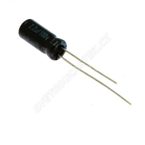 Elektrolytický kondenzátor radiální E 2.2uF/100V 5x11 RM2 105°C Jamicon TKR2R2M2AD11M