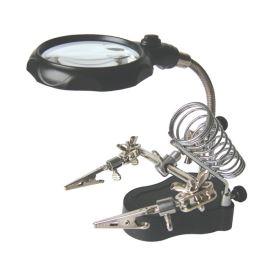 Pomocný držiak na spájkovanie s lupou, LED osvetlením a stojanom pre spájkovacie rúčku (tretia ruka) ZHONGDI ZD-126-2