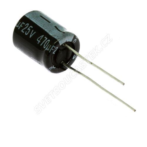 Elektrolytický kondenzátor radiální E 470uF/25V 10x13 RM5 85°C Jamicon SKR471M1EG13M