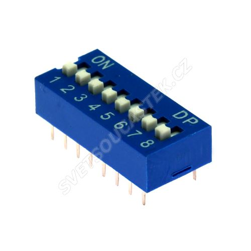DIP přepínač 8pólový RM2.54 modrý Kaifeng KF1001-08PG-BLUE