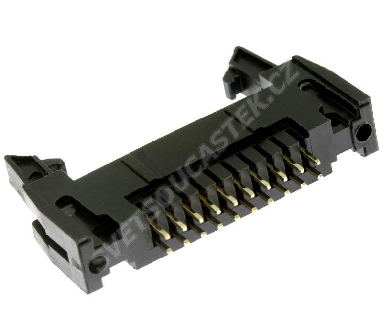 Konektor IDC pro ploché kabely 20 pinů (2x10) RM2.54mm do DPS přímý Xinya 119-20 G S K