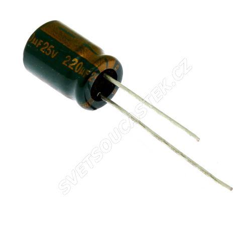 Elektrolytický kondenzátor radiální E 220uF/25V 8x11.5 RM3.5 105°C low ESR Jamicon WLP221M1EFBBRE3