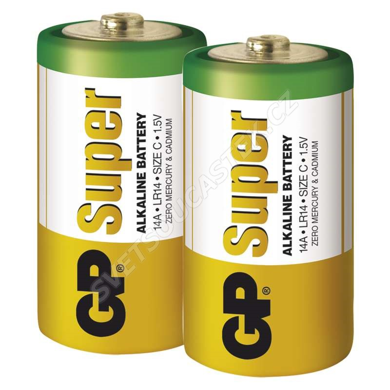 Alkalická baterie GP Super LR14 (C), 2 ks v blistru