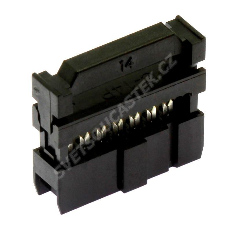 Konektor IDC pro ploché kabely 14 pinů (2x7) RM2.54mm na kabel přímý Xinya 110-14 T A K