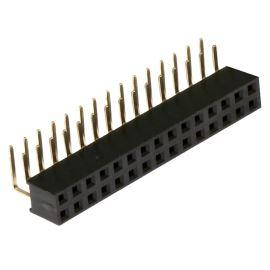 Dutinková lišta dvouřadá 2x15 pinů RM2.54mm pozlacená úhlová 90° Xinya 114-A-D R 30G [D 5.7mm]