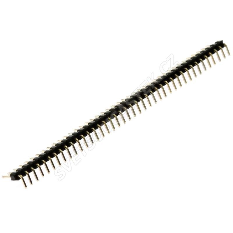 Lámací kolíková lišta jednořadá 40 pinů RM2.54mm pozlacená úhlová 90° Xinya 112-A-S R 40G3