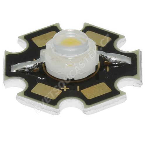 LED STAR 1W stud. bílá CREE čip 90lm/120° Lambertian Hebei S12CREEW6