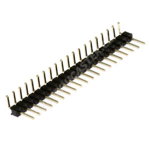 Lámací kolíková lišta jednořadá 20 pinů RM2.54mm pozlacená úhlová 90° Xinya 112-A-S R 20G3