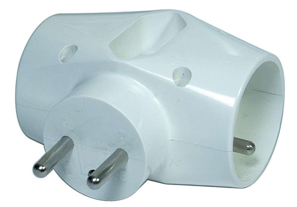 Emos Rozbočovací zásuvka trojnásobná 2 x kulatá 1 x plochá bílá 250V / 10A