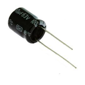 Elektrolytický kondenzátor radiální E 100uF/63V 10x13 RM5 85°C Jamicon SKR101M1JG13M