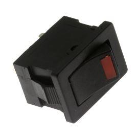 Kolébkový spínač do panelu spínací 1-pólový ON-OFF 6/3A 125/250V AC Jietong  MIRS-101-3+LED RED- B/B