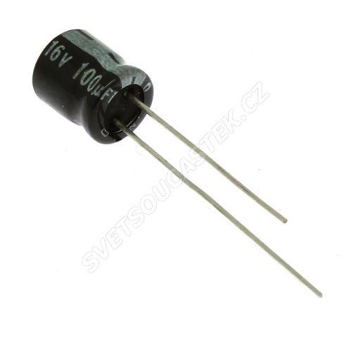 Elektrolytický kondenzátor radiální E 100uF/16V 6.3x7 RM2.5 85°C Jamicon SSR101M1CE7M