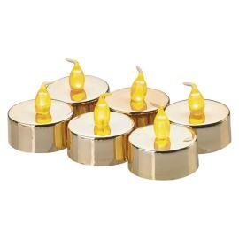 LED čajová svíčka zlatá ZY2151 6x a 6x CR2032 baterie SADA