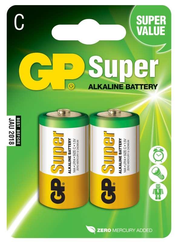 GP Batteries Alkalická baterie GP Super LR14 (C), 2 ks v blistru