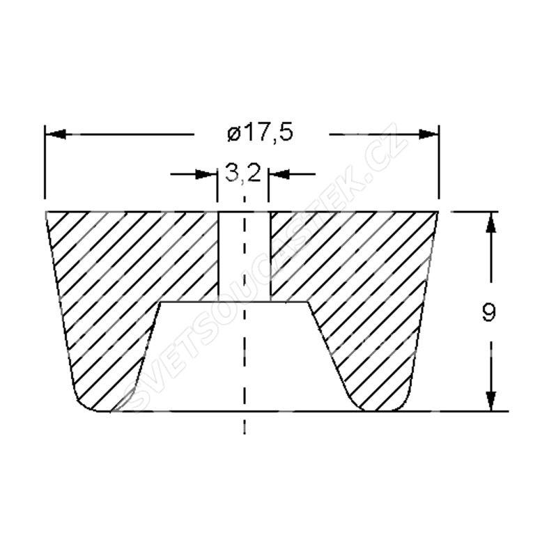 Gumová přístrojová nožička 17.5x9mm GF2