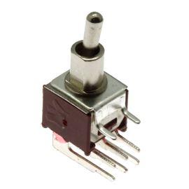 Páčkový spínač do DPS úhlový přepínací 2-pólový ON-ON 3/1.5A 125/250V AC Jietong  SMTS-202-2C3