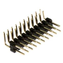 Lámací kolíková lišta dvouřadá 2x10 pinů RM2.54mm pozlacená úhlová 90° Xinya 112-A-D RV 20 G
