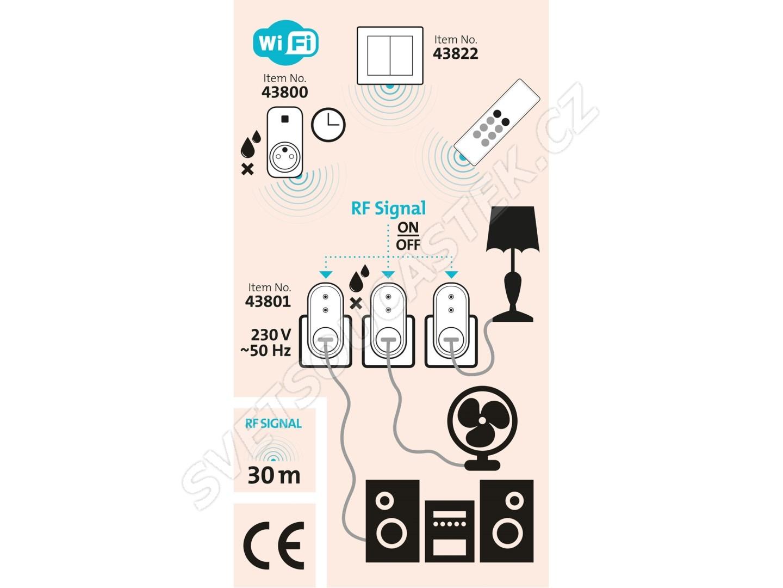 Dálkově ovládané zásuvky 433MHz 3ks s dálkovým ovladačem dosah 30m Extol Light 43801
