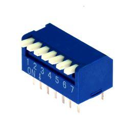 DIP přepínač PIANO 7pólový RM2.54 modrý Kaifeng KF1002-07PG-BLUE