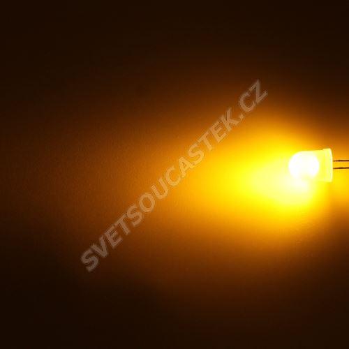 LED 10mm žlutá 800mcd/50° difúzní Hebei 105MY8D