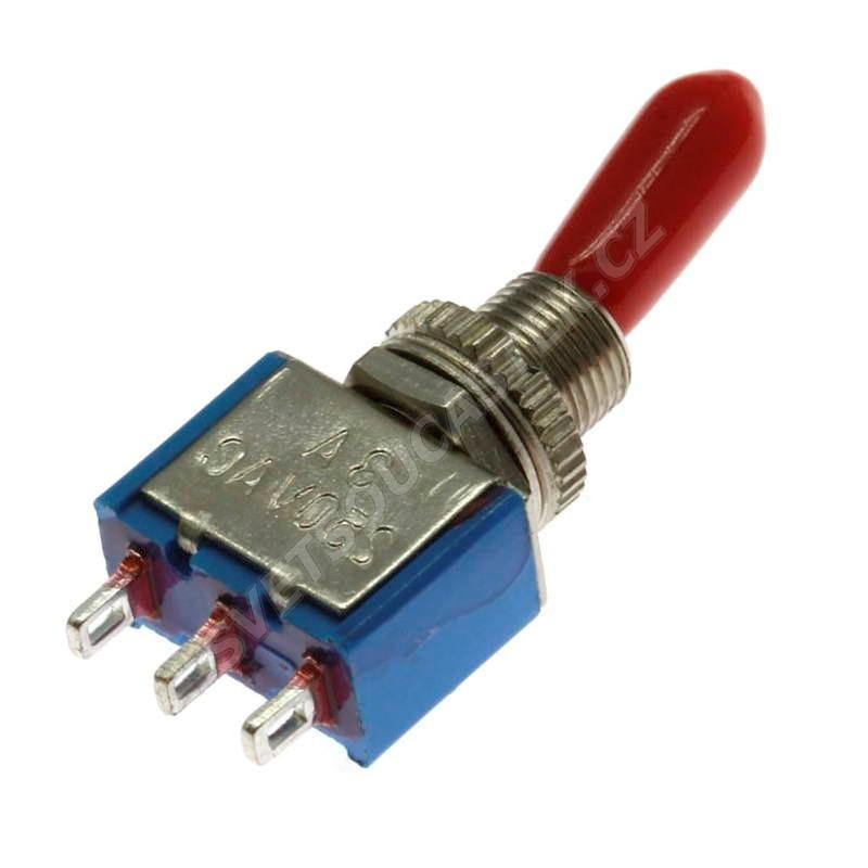 Páčkový spínač do panelu přepínací 1-pólový ON-ON 6/3A 125/250V AC Jietong  KNX-1-D1