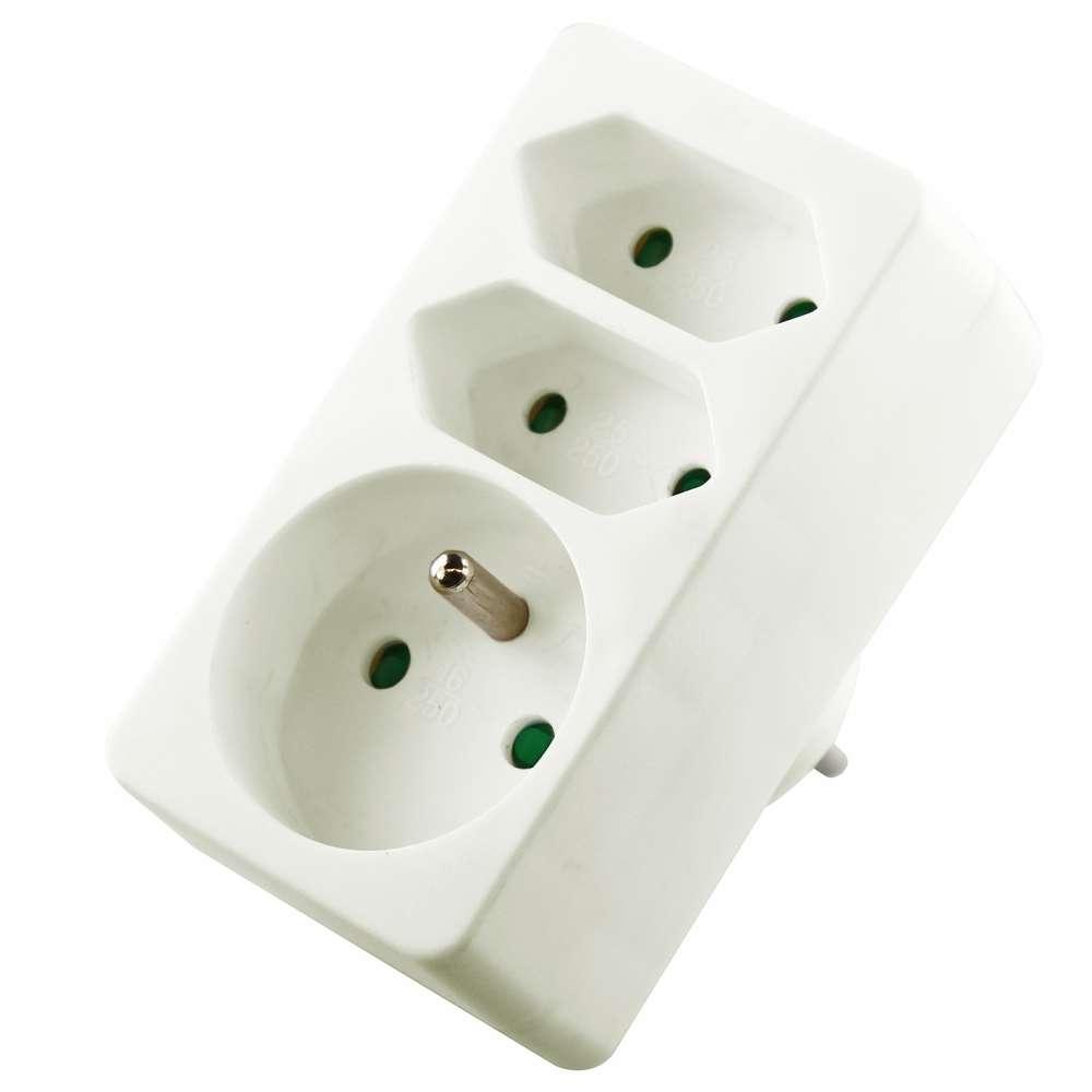 Rozbočovací zásuvka trojnásobná 1 x kulatá 2 x plochá bílá 250V / 10A