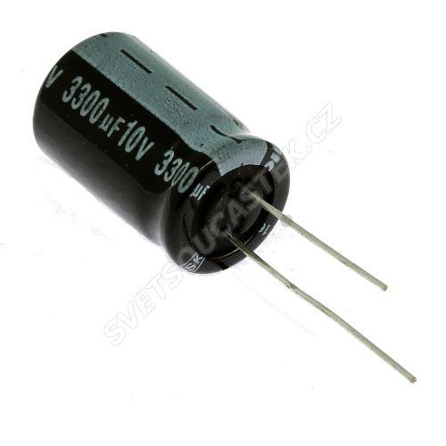 Elektrolytický kondenzátor radiální E 3300uF/10V 13x21 RM5 85°C Jamicon SKR332M1AJ21M
