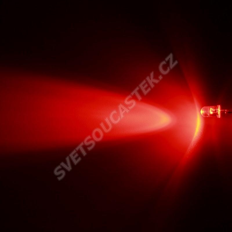 LED 5mm červená 2500mcd/30° čirá Hebei 530XR2C