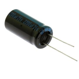 Elektrolytický kondenzátor radiální E 2200uF/25V 12.5x25 RM5 105°C Jamicon TKR222M1EI25M
