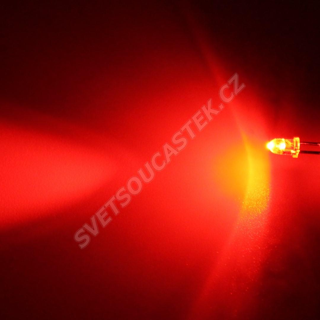 LED 3mm červená 3000mcd/30° čirá Hebei 330MR2C
