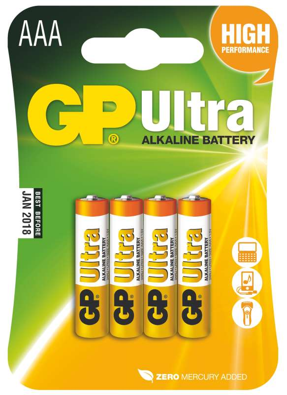 GP Batteries Alkalická baterie GP Ultra LR03 (AAA), 4 ks v blistru