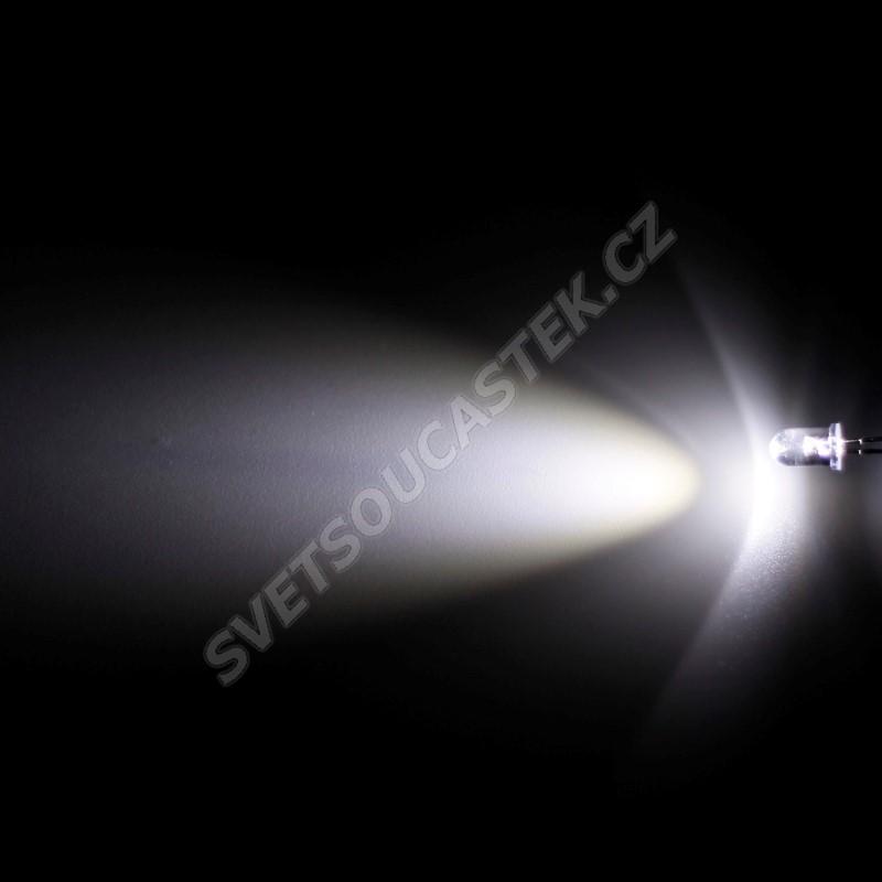 LED 5mm stud. bílá 4000mcd/30° čirá Hebei 530VW6C