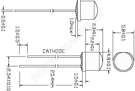 LED 4,8mm růžová 550mcd/170° čirá Hebei 412JPKC