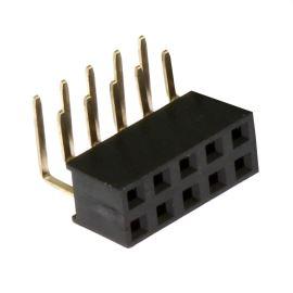 Dutinková lišta dvouřadá 2x5 pinů RM2.54mm pozlacená úhlová 90° Xinya 114-A-D R 10G [D 5.7mm]