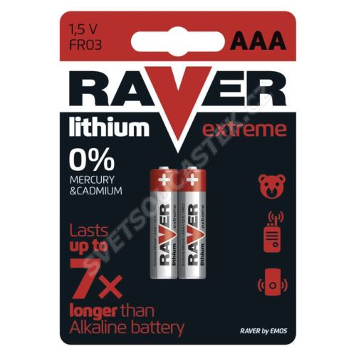 Lítiová batéria Raver FR03 (AAA, mikrotužka), 2 ks v blistri