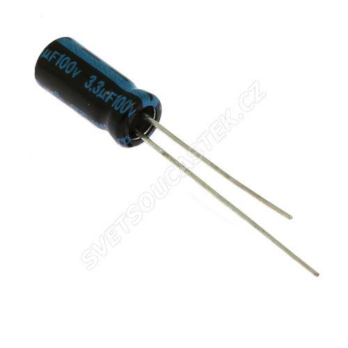 Elektrolytický kondenzátor radiální E 3.3uF/100V 5x11 RM2 105°C Jamicon TKR3R3M2AD116M