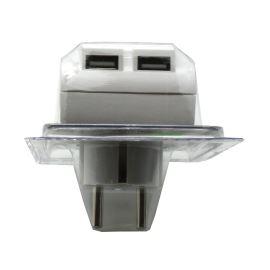 USB nabíječka s průchozí zásuvkou 230V, 2x USB port 5W