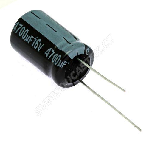 Elektrolytický kondenzátor radiální E 4700uF/16V 16x25 RM7.5 85°C Jamicon SKR472M1CK25M
