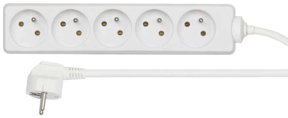 Prodlužovací kabel bílý 3x1,5mm 5 zásuvek 5m