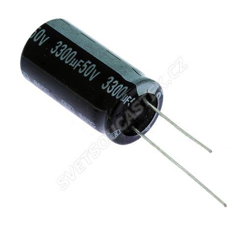 Elektrolytický kondenzátor radiální E 3300uF/50V 18x35.5 RM7.5 85°C Jamicon SKR332M1HL35M
