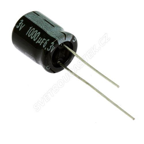 Elektrolytický kondenzátor radiální E 1000uF/6.3V 10x13 RM5 85°C Jamicon SKR102M0JG13M