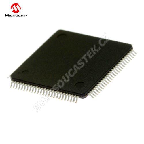 32-Bit MCU 2.3-3.6V 128kB Flash 80MHz TQFP100 Microchip PIC32MX320F128L-80I/PT