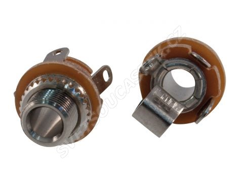 Zásuvka do panelu kovová pro Jack 3.5mm MONO s vypínačem