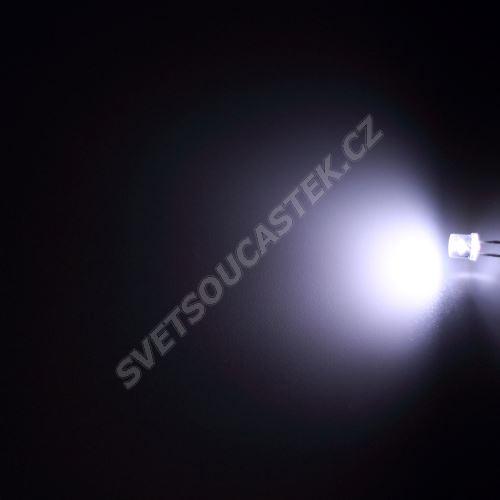 LED 5mm stud. bílá 1000mcd/100° čirá Hebei 599XW7C