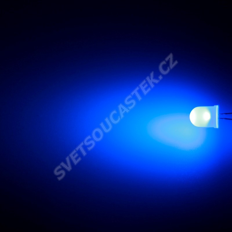 LED 10mm modrá 800mcd/50° difúzní Hebei 105XB7D
