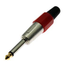 Vidlice Jack kovová 6.3mm na kabel MONO červená