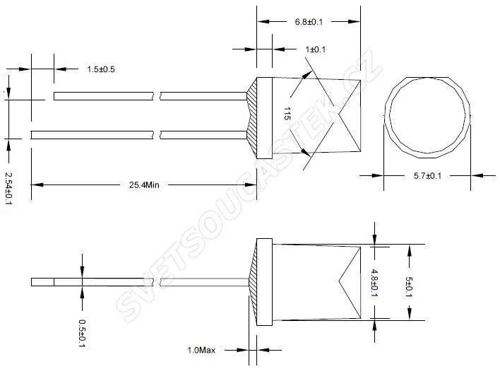 LED 5mm stud. bílá 300mcd/150° čirá Hebei 551PWC